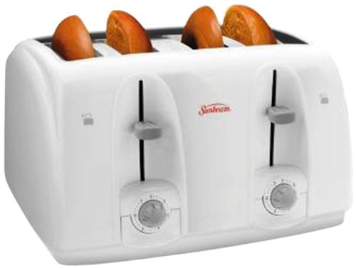 Sunbeam 3823-100 4-Slice Wide Slot Toaster, White Review