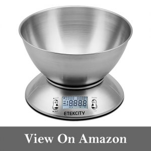 Etekcity 11lb 5kg Digital Multifunction Food Kitchen Scale with Removable Bowl