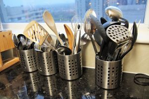 Cleaning Of The Kitchen Tools And Cast Iron Pan
