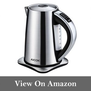 Aicok Electric Kettle Precise Temperature Control Hot Water Kettle Stainless Steel Tea Kettle, 1.7 Liters, 1500Watt